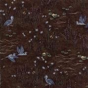 Moda - Summer on The Pond by Holly Taylor - 5720 - Heron Floral on Brown  - 6720 19 - Cotton Fabric